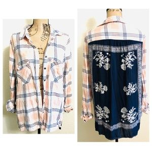 Free People long sleeve flannel floral button top